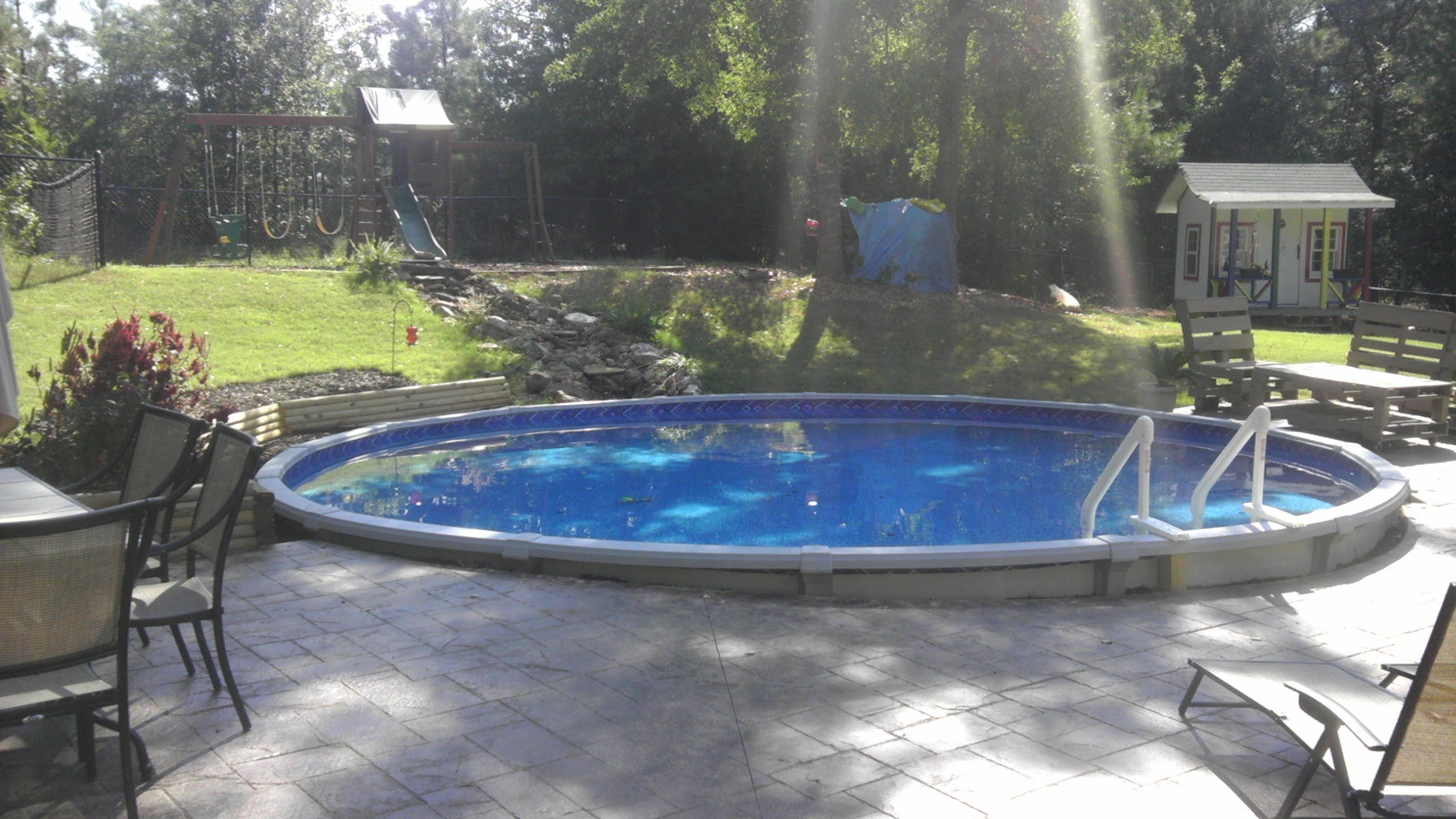 above ground pools that look like in ground dropping an above ground pool in the ground - youtube KQXUYXM