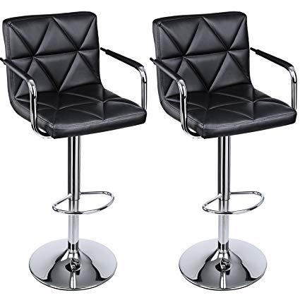 adjustable bar stools with backs and arms songmics adjustable bar stools with arms and back pu swivel barstool chairs, PBDMRPP