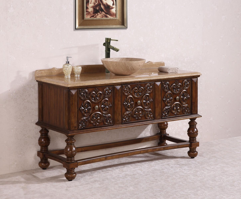 Antique Bathroom Vanity with Vessel Sink