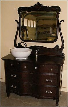 antique bathroom vanity with vessel sink photo of front view - antique bathroom vanity: serpentine oak dresser for bathroom OUNTTAG
