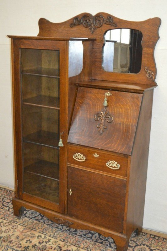 antique drop front secretary desk with bookcase larkin antique 1900s drop front tiger oak secretary desk side OQVIAHC