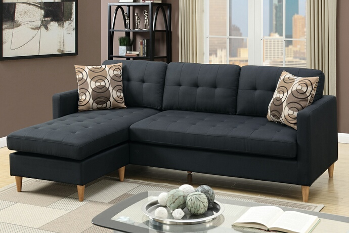 apartment size sectional sofa with chaise detailed images. f7084 2 pc leta collection black polyfiber fabric ODPIWYZ