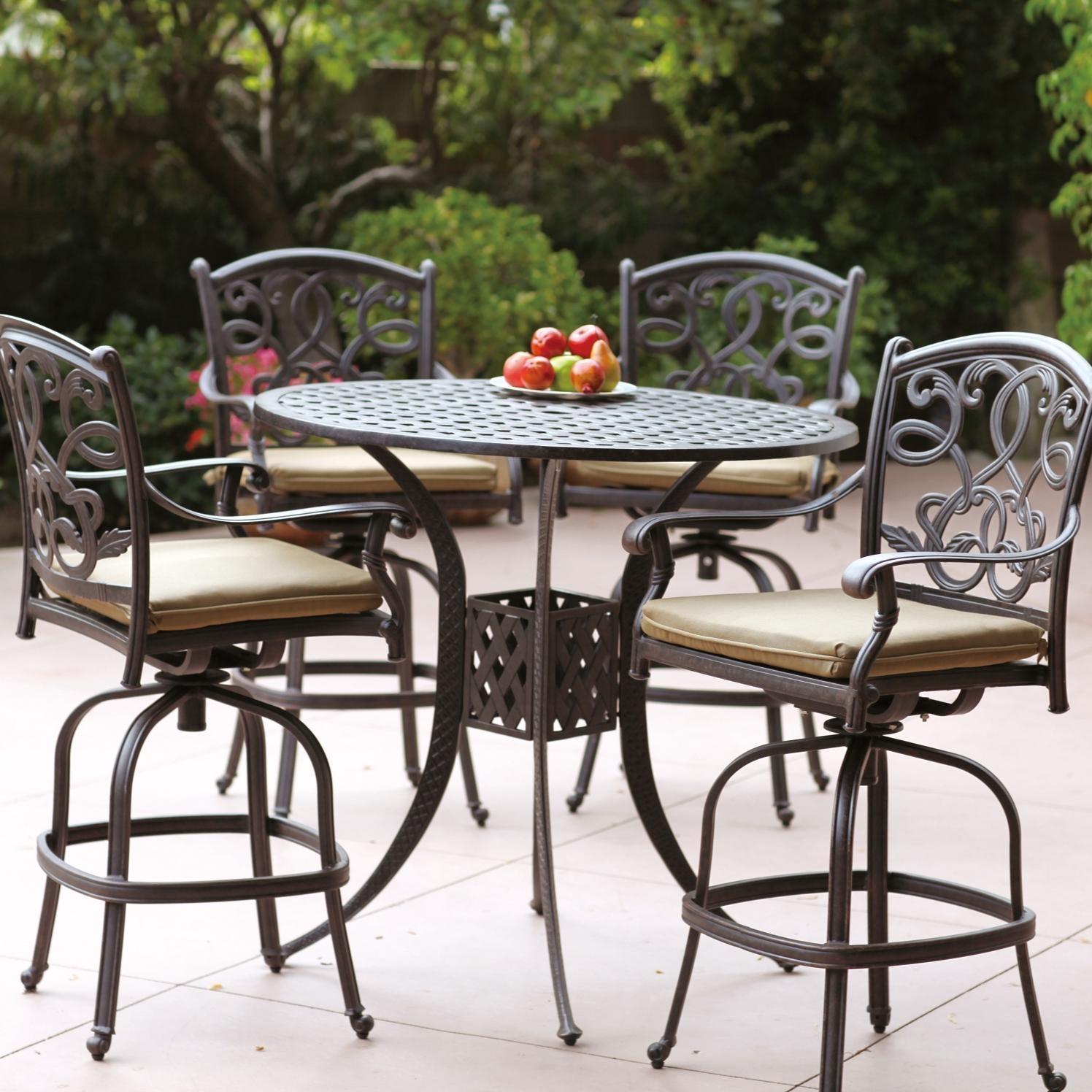 bar height patio set with swivel chairs darlee santa monica 5 piece cast aluminum patio bar set with ANCZLIU