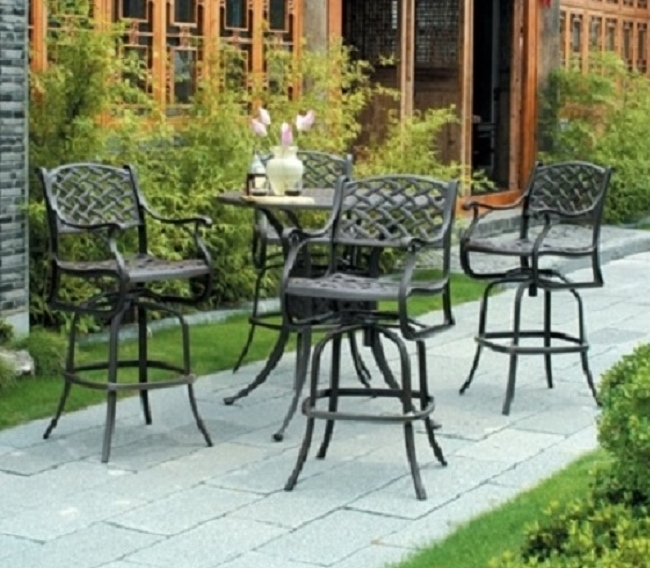 bar height patio set with swivel chairs newport by hanamint 4-person luxury cast aluminum bar height set w/swivel CIZSONY