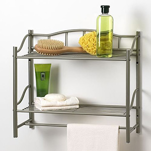 bathroom shelf with towel bar brushed nickel bathroom double wall shelf organizer with towel bar AZOCCEV