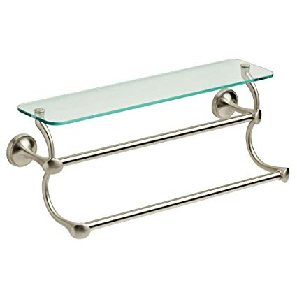 bathroom shelf with towel bar brushed nickel glass bathroom shelf with double towel bar in spotshield brushed nickel LOOVGEY