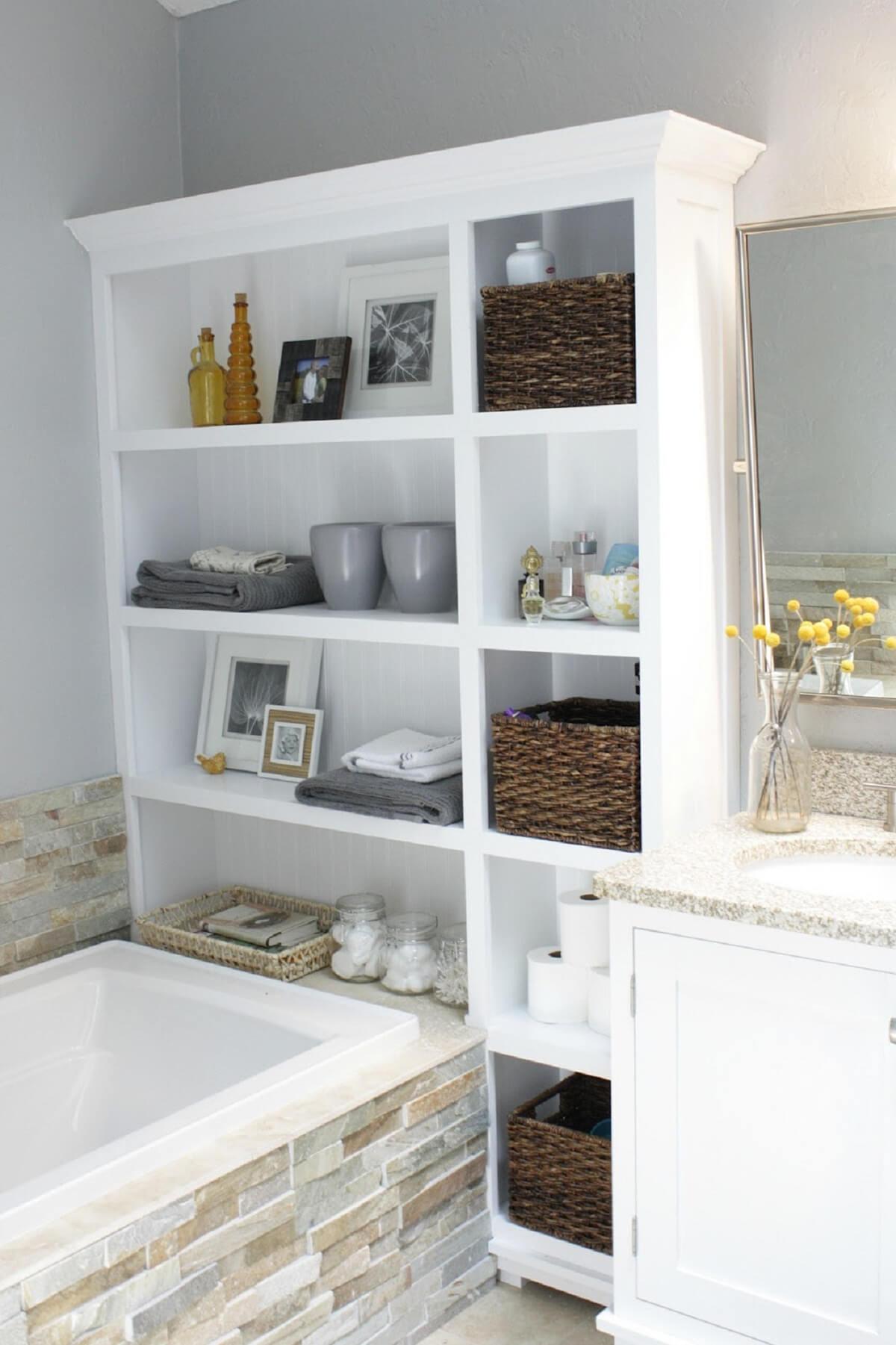bathroom storage ideas for small bathrooms 28. re-purpose that old bookshelf UOOVINW