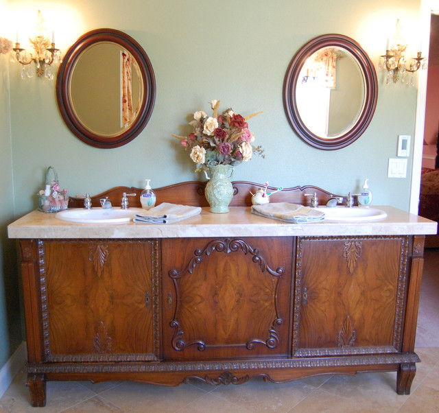 bathroom vanities that look like furniture antique sideboard buffet turned into double sink vanity traditional-bathroom RVYKMRQ