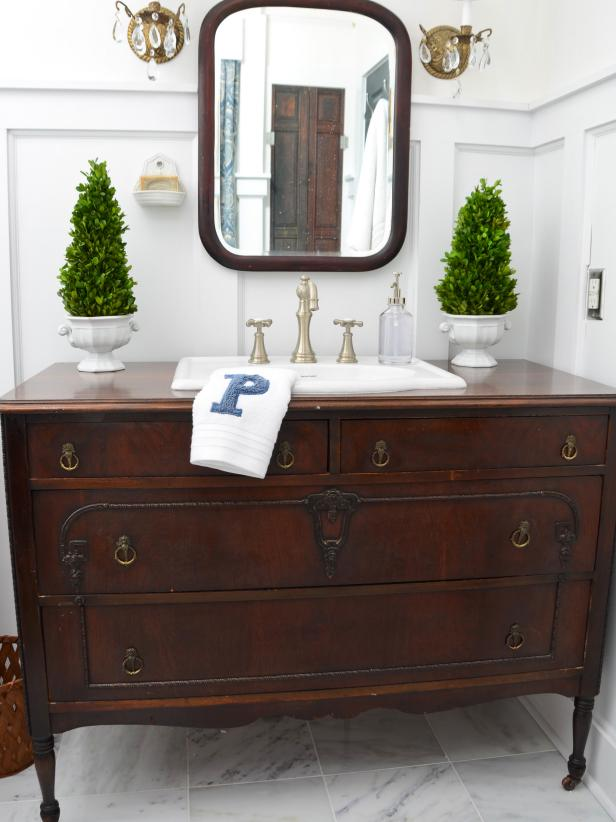 bathroom vanities that look like furniture traditional dresser gets new life as bathroom vanity LZKGNHG