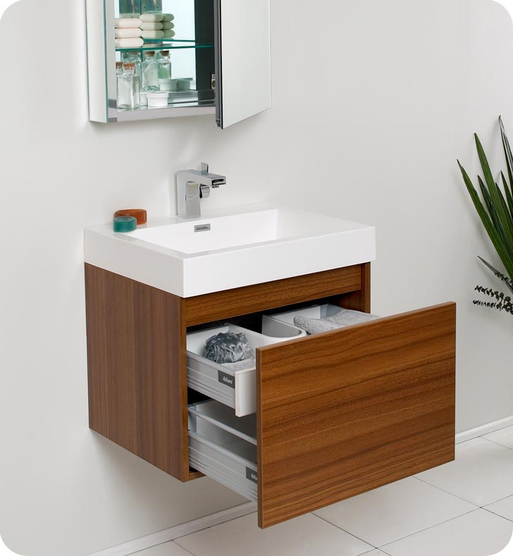 bathroom vanities with matching medicine cabinets ... fresca nano teak modern bathroom vanity w/ medicine cabinet ... RPPISQT