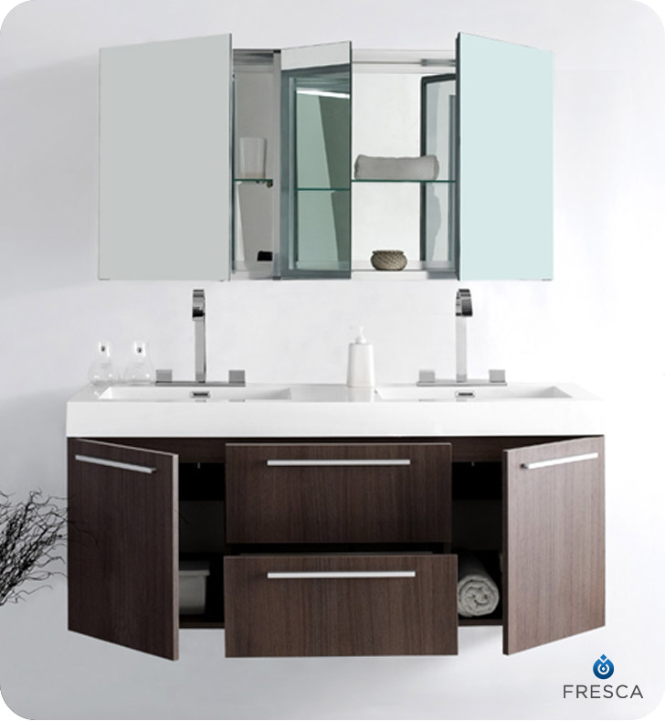 bathroom vanities with matching medicine cabinets ... picture of fresca opulento gray oak modern double sink bathroom IDPSDMV