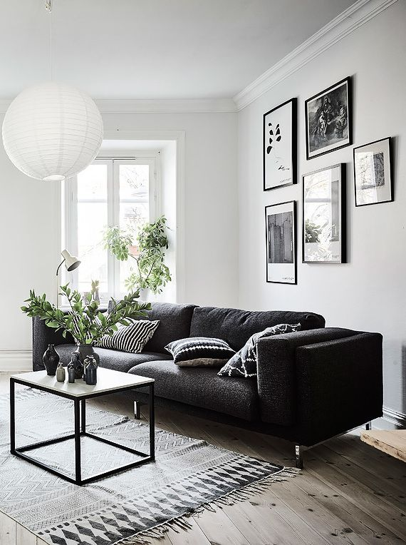 black and white decor ideas for living room living room in black, white and gray with nice gallery wall QTACWGQ