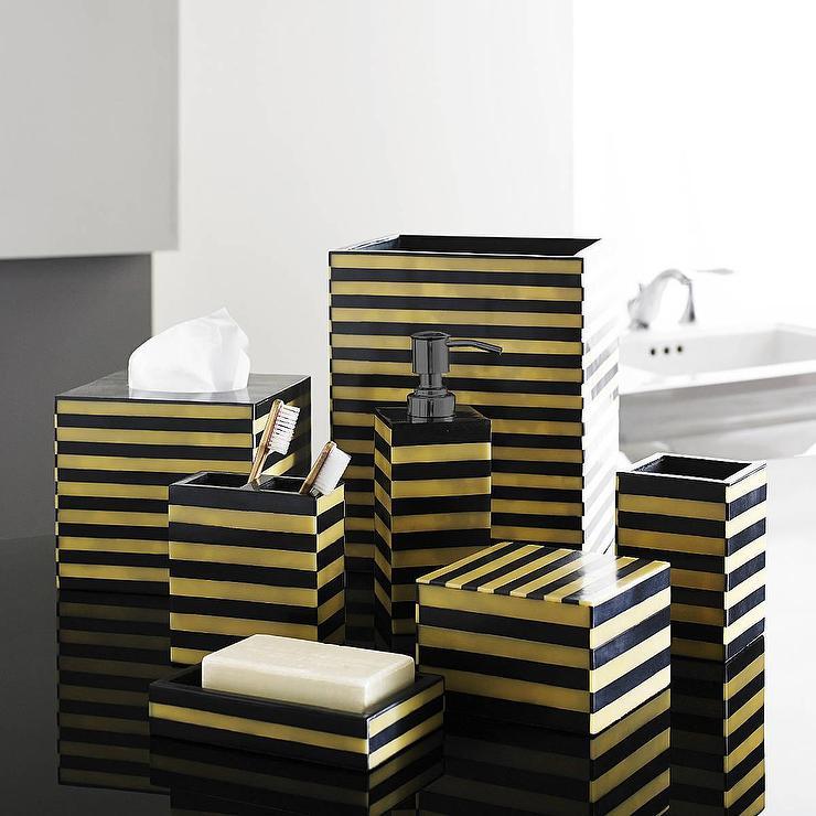 black and white striped bathroom accessories gold and black luxury bath accessory sets EXVQWQZ