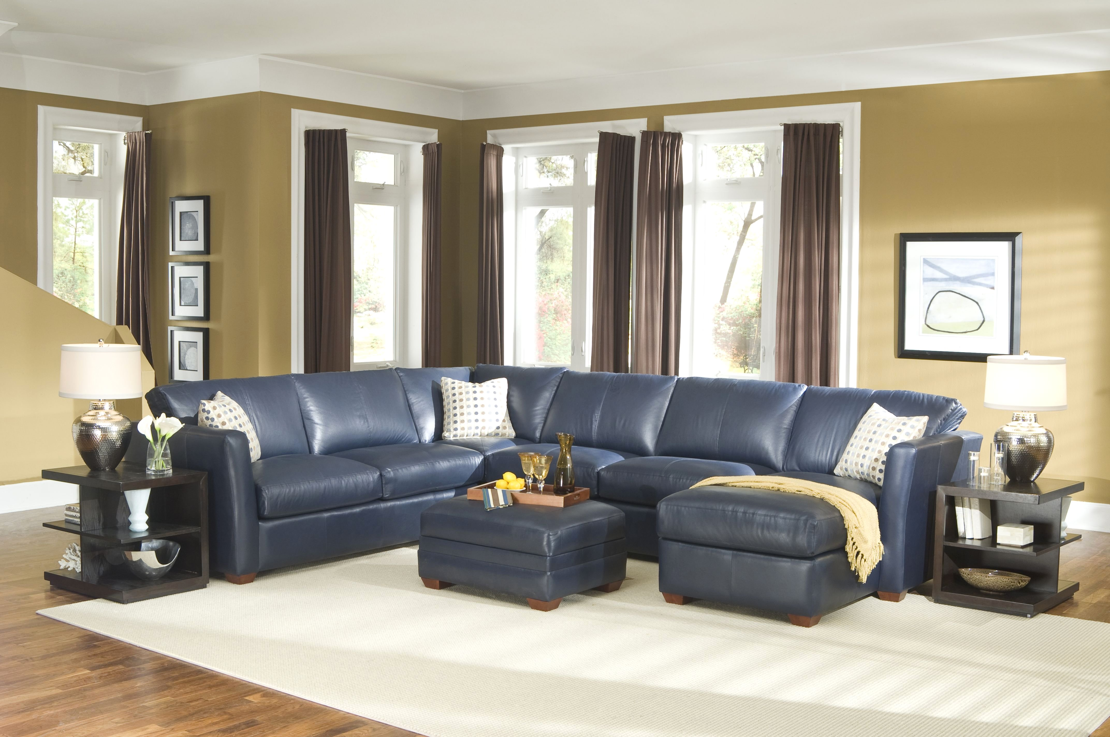 Blue Leather Sectional Sofa With Chaise Goodworksfurniture