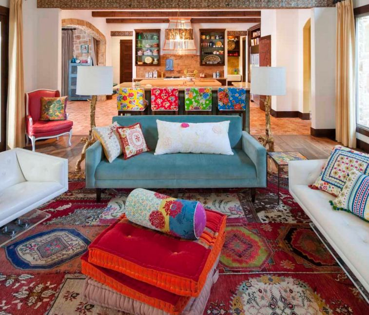bohemian decorating ideas for living room color rich DDGDNSB