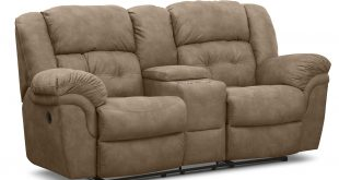 brown microfiber reclining loveseat with console and double glass holder POWBGDO