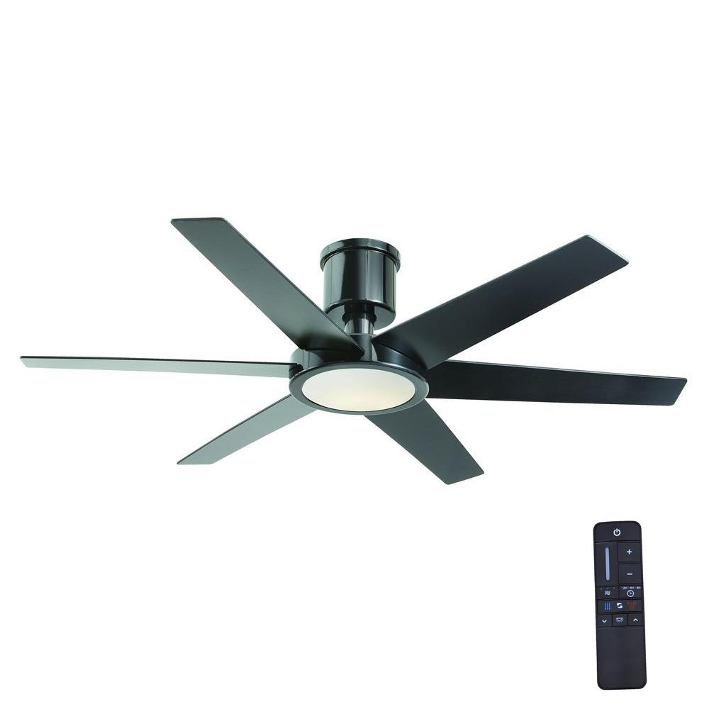 ceiling fans with led lights and remote control home decorators collection clermont 52 in. led indoor glossy black ceiling SIPMEOZ
