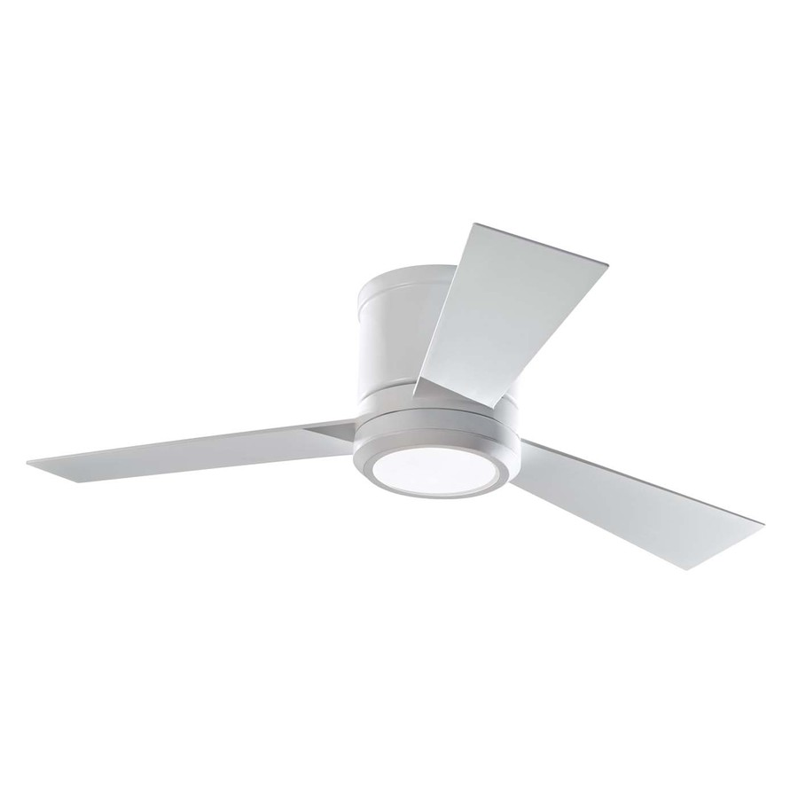 ceiling fans with led lights and remote control monte carlo fan company clarity 42-in rubberized white flush mount indoor NUJZRJT