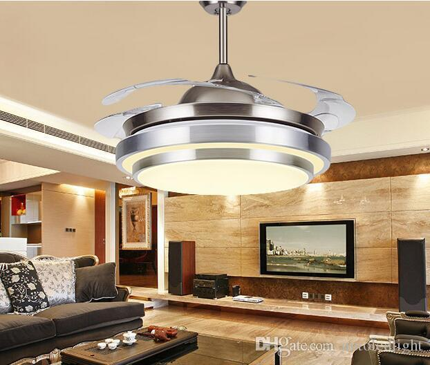 ceiling fans with led lights and remote control online cheap 31 8/9 modern chrome round shaped led ceiling fan NHENUDG