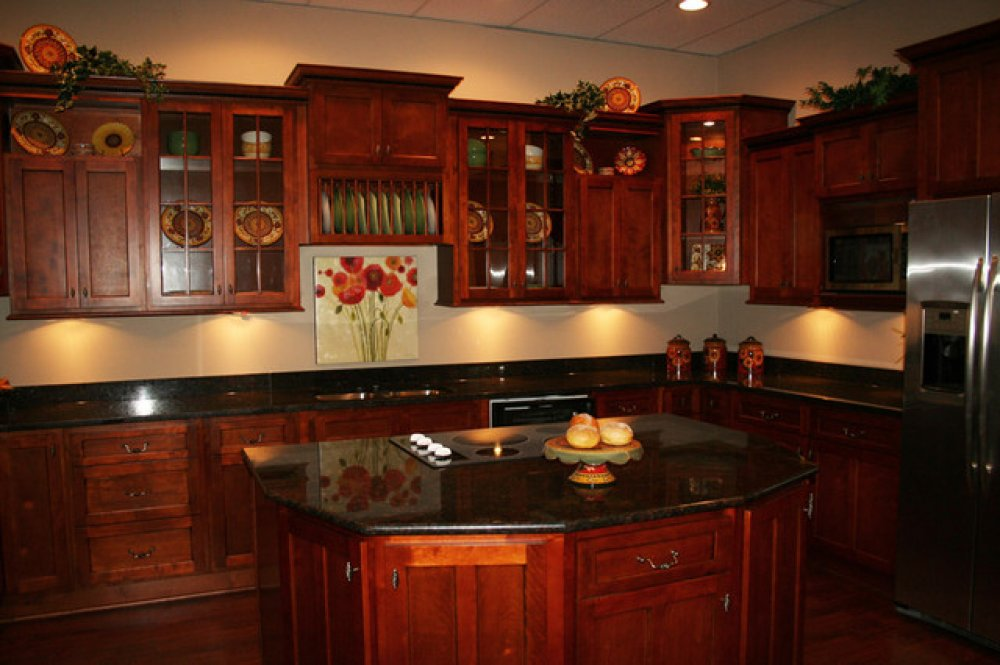 Granite Countertop Colors For Cherry Cabinets Image Cabinets And