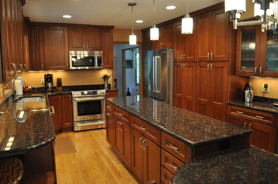 cherry kitchen cabinets with granite countertops goodworksfurniture rh goodworksfurniture com Impala Black Granite Kitchen Countertops Cherry