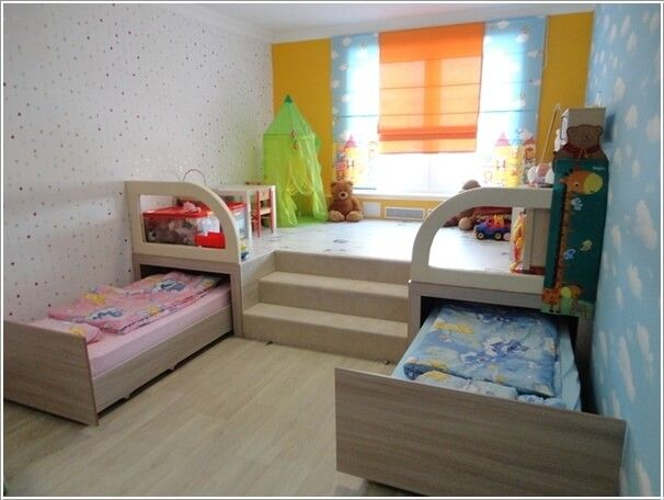 childrens bedroom furniture for small rooms build a platform and use it as an activity area and XZZLHNB