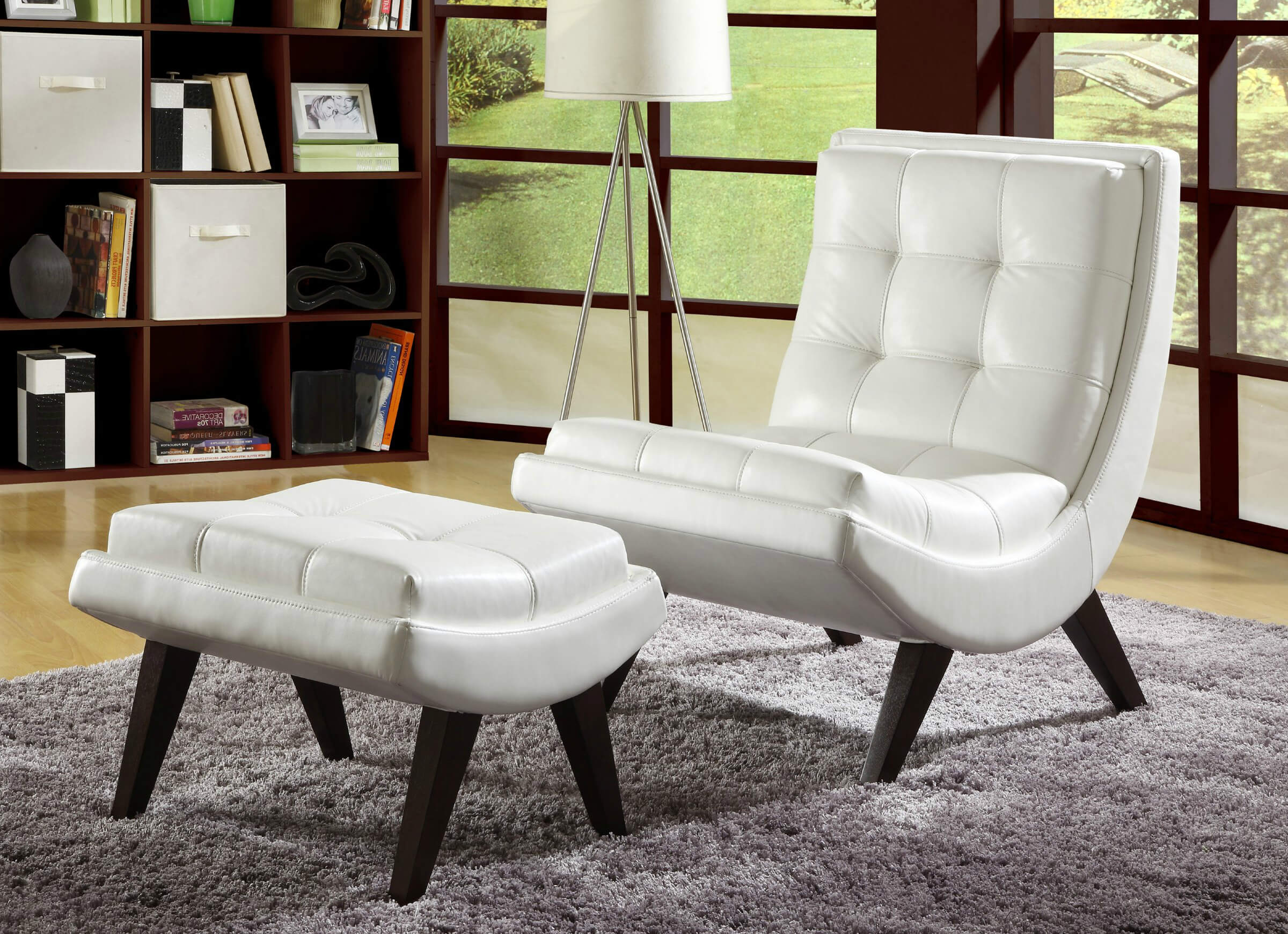 contemporary accent chairs for living room contemporary accent chair paired with ottoman comes in white faux leather SJNVSID