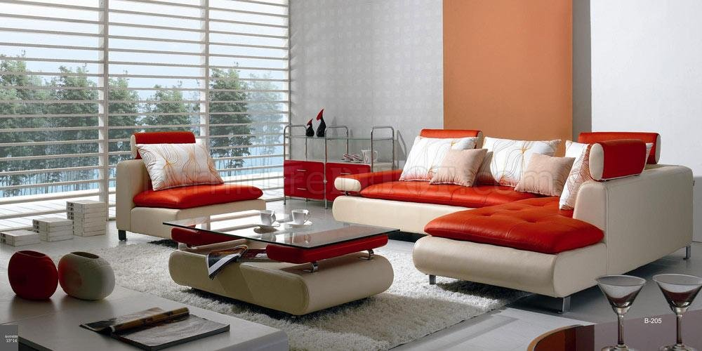 contemporary leather living room furniture red u0026 white leather modern sectional sofa w/chair u0026 coffee table DPTNTBX
