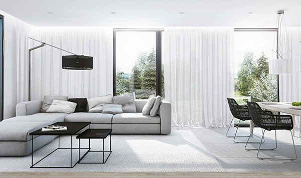 contemporary white living room design ideas modern sofa CYUDBMG