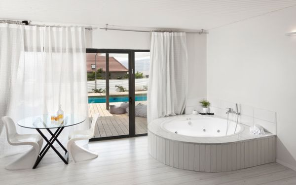 contemporary window treatments for sliding glass doors view in gallery contemporary bathroom in white with matching drapes CCSGNWY