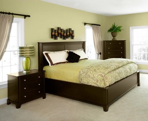 contemporary yellow paint colors for bedroom with dark furniture pictures QANNVER