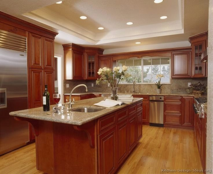 coolest kitchen color schemes with cherry cabinets in nice home VQKIADG