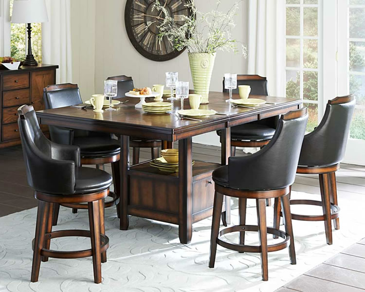 Elegant Counter Height Dining Table with Storage
