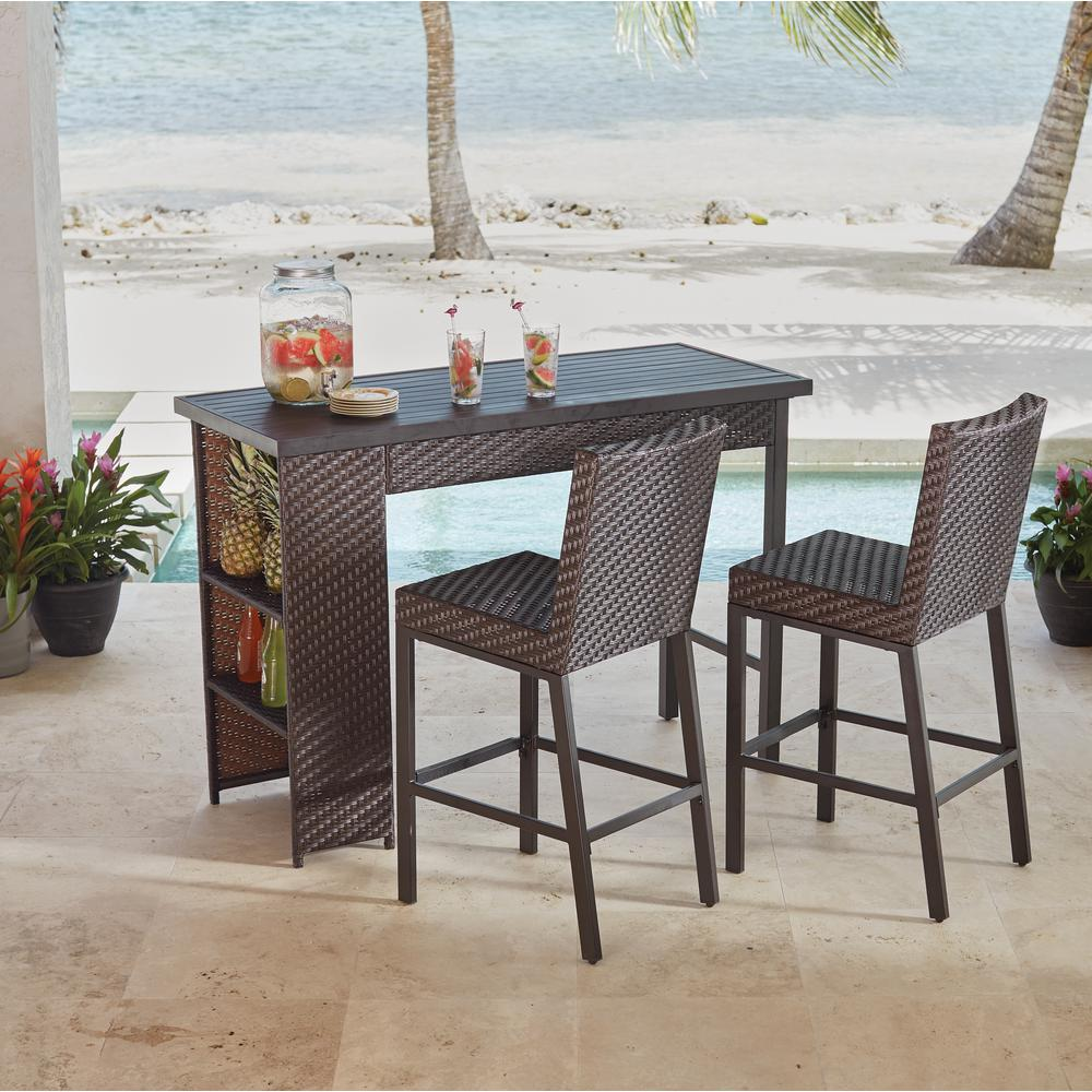 counter height outdoor table and chairs rehoboth 3-piece wicker outdoor bar height ... ZGHQPZM