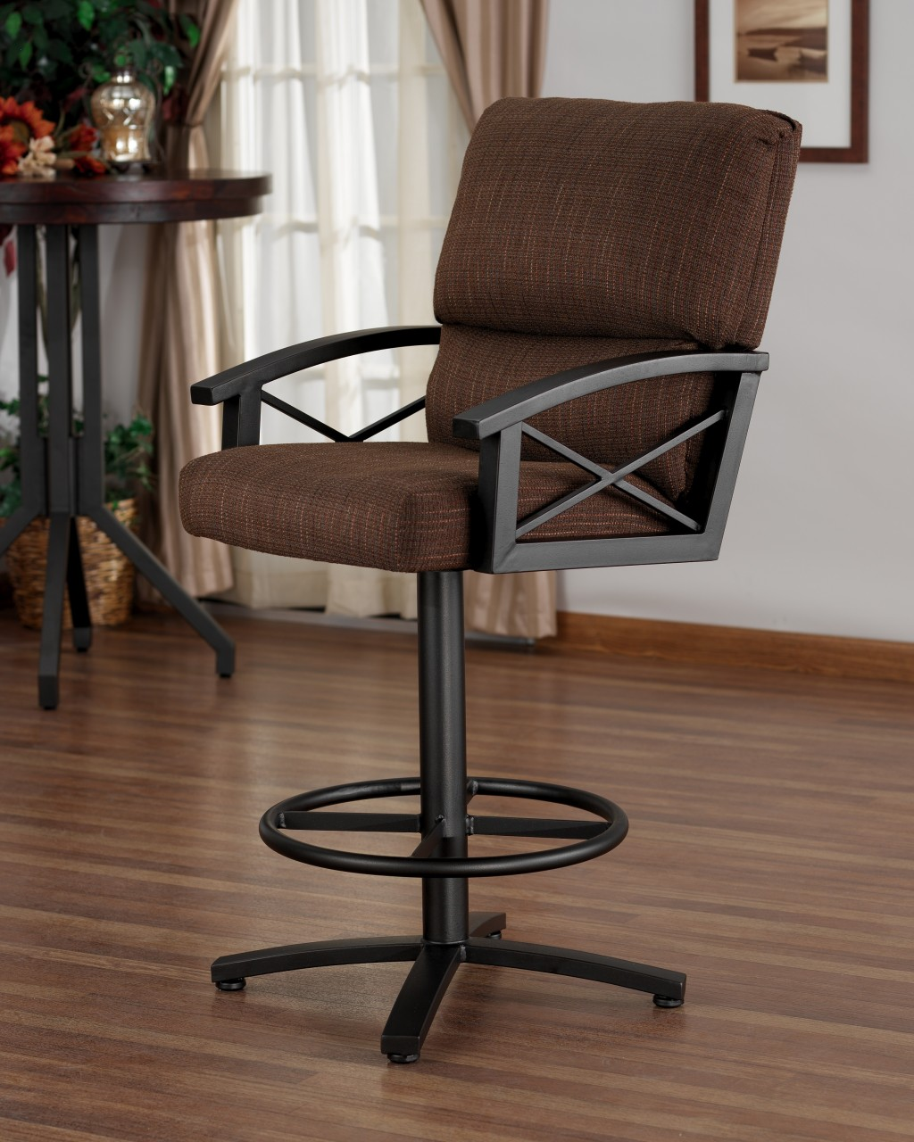 Comfy Counter Height Swivel Bar Stools with Arms