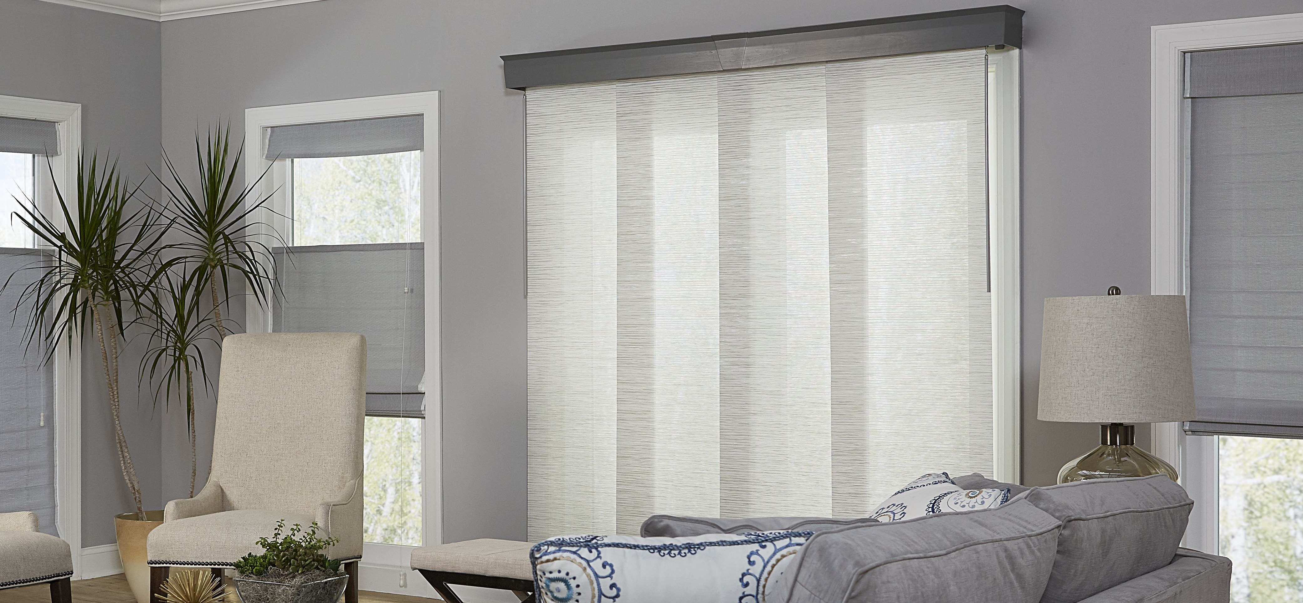 Elegant Curtains for Sliding Glass Doors with Vertical Blinds