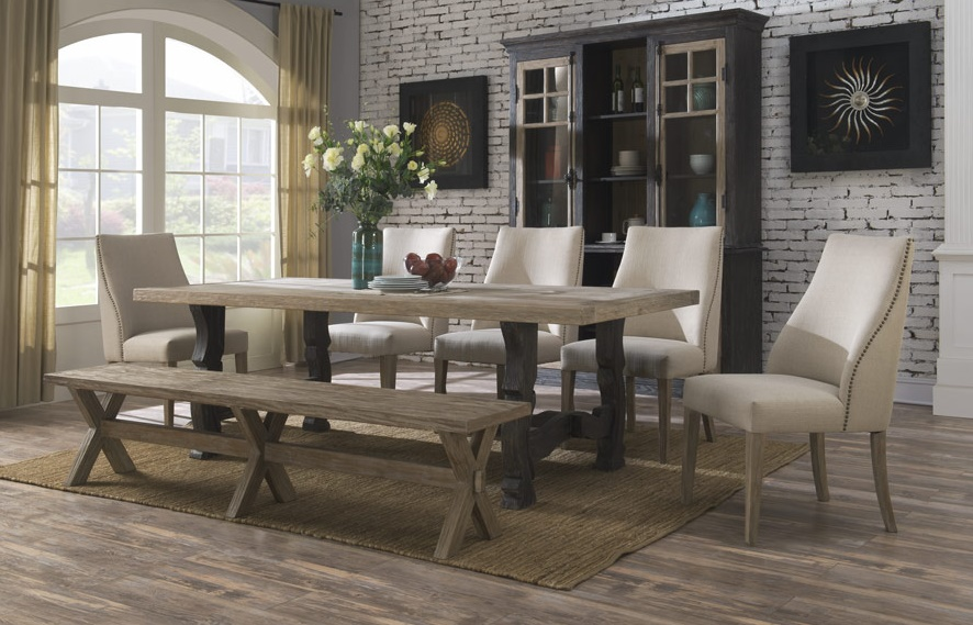 dining room table with upholstered chairs barcelona dining collection with bench and upholstered chairs XSTRGBA