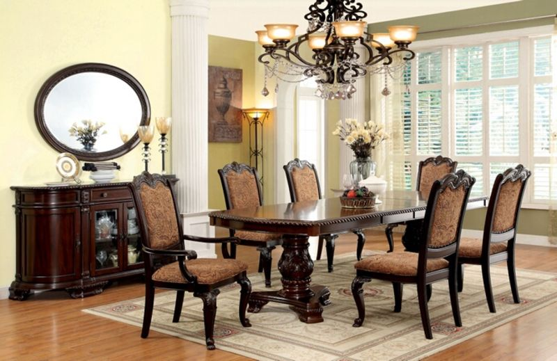 dining room table with upholstered chairs bellagio formal dining room set with fabric upholstered chairs JKMLGSW