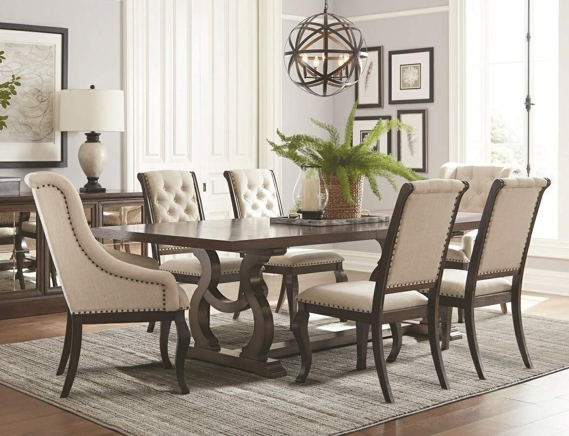dining room table with upholstered chairs coaster glen covetrestle dining table u0026 upholstered chair set ... ACZWVJX