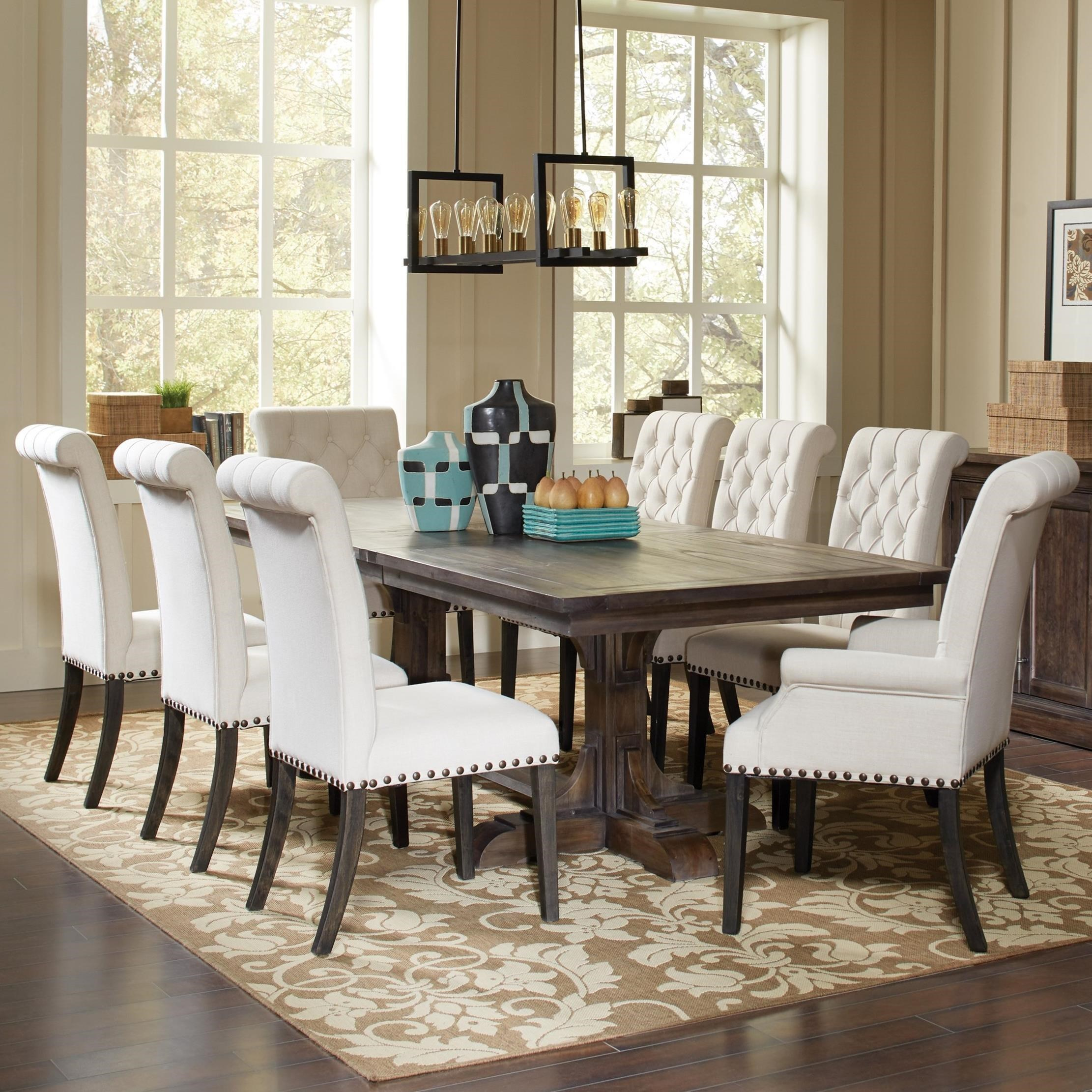 dining room table with upholstered chairs coaster weber traditional dining table and cream upholstered chair set XDJWYZK