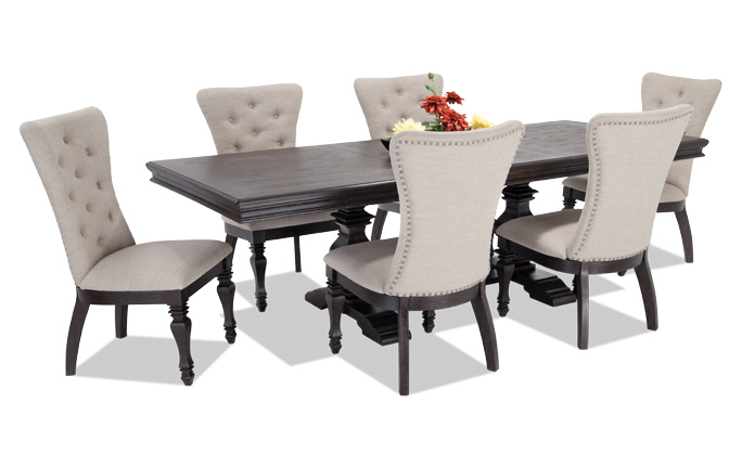 dining room table with upholstered chairs riverdale 7 piece dining set with upholstered chairs DLBFTSM