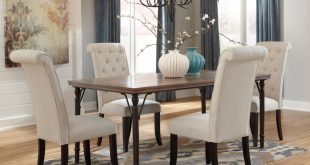 dining room table with upholstered chairs tripton rectangular dining room table u0026 4 uph side chairs WJAFLKQ