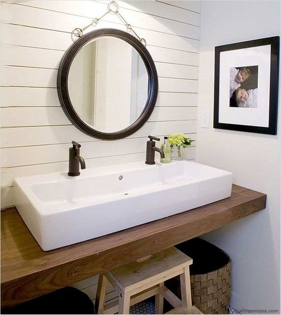 double vanity ideas for small bathrooms perfect double vanity for small bathroom with white wooden paneling EIEXGDR