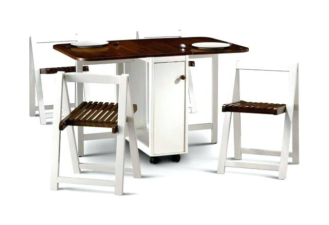 drop leaf table with folding chairs stored inside medium white GUILMLS