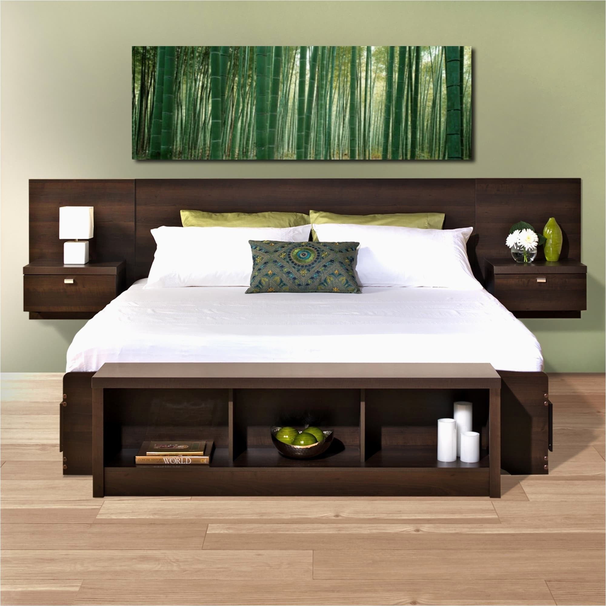 floating headboard with attached nightstands canap OEDAFNI