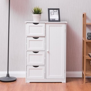 free standing bathroom cabinets with drawers costway wooden 4 drawer bathroom cabinet storage cupboard 2 shelves TRVWPMH