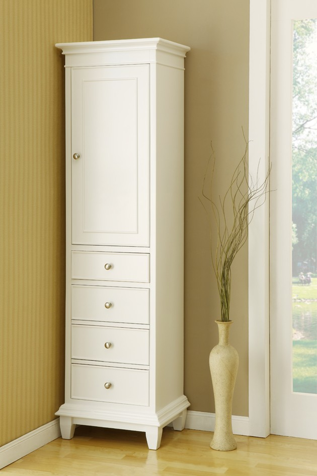 free standing linen cabinets for bathroom tall white free standing linen closet wth single door and VFNSDHX