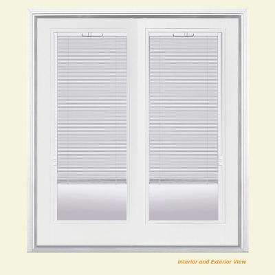 french doors with blinds between the glass 72 in. x 80 in. primed white fiberglass prehung left-hand GUWTEAO