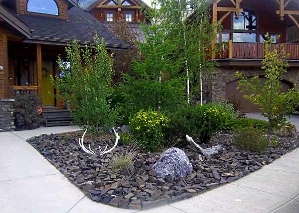 front yard landscaping ideas with rocks black rock landscaping ideas for front yard with some small SKNWYSP