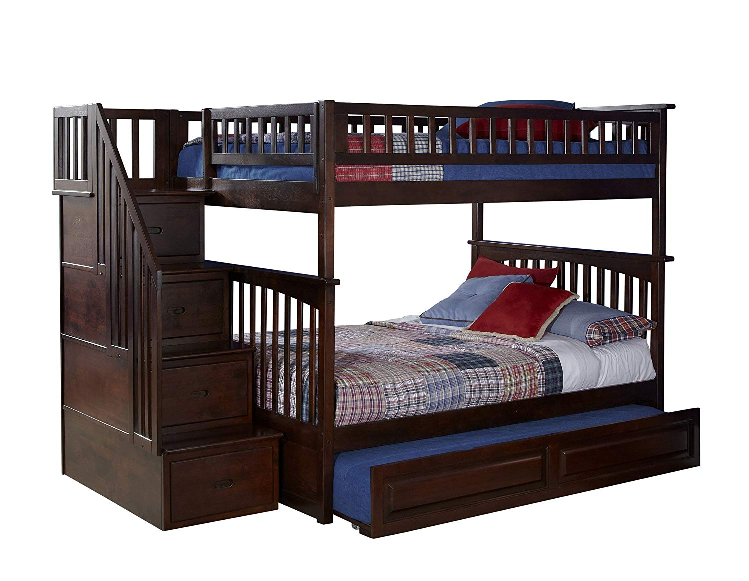 full over full bunk beds with trundle and stairs amazon.com: atlantic furniture columbia staircase bunk bed with trundle bed, GCQEERK